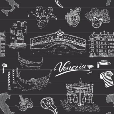 Tapeta Wenecja szwu. Ręcznie narysowanego szkic na mapie Włoch, gondole, gondole, ubrania karnawałowe maski weneckie, domów, mostów, kawiarni stołem i krzesłami. Doodle rysunek na tablicy tle