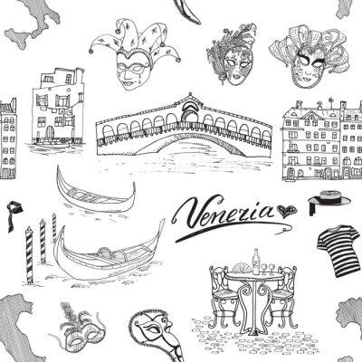 Tapeta Wenecja szwu. Ręcznie narysowanego szkic na mapie Włoch, gondole, gondole, ubrania karnawałowe maski weneckie, domy, most rynku, kawiarni stołem i krzesłami. Doodle samodzielnie na białym tle