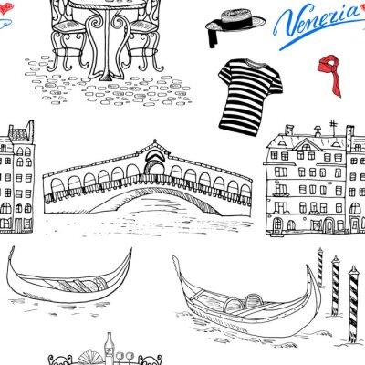 Tapeta Wenecja szwu. Ręcznie narysowanego szkic z gondoli gondoliera, ubrania, domy, most rynku i kawiarni stół z krzesłami. Doodle na białym.