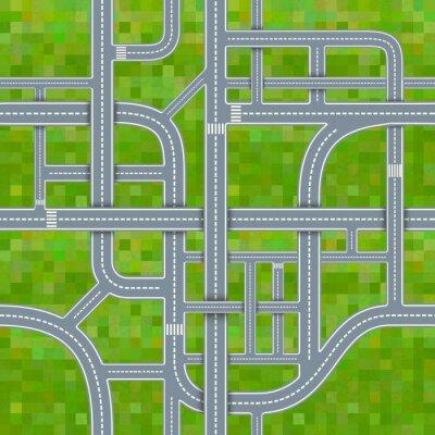 Tapeta węzłów drogowych na tle trawy, bez szwu wzór