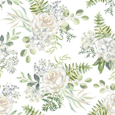 Tapeta White rose, hydrangea flowers with green leaves bouquets background. Floral illustration. Vector seamless pattern. Botanical design. Nature summer plants. Romantic wedding