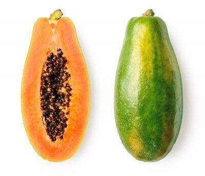 Whole and half of ripe papaya fruit