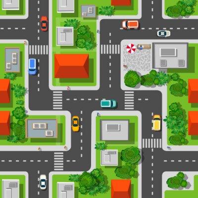Tapeta Widok z góry na miasto szwu wzór ulic, dróg, domów i samochodów