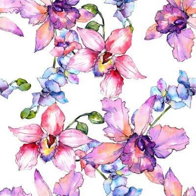 Tapeta Wildflower kwiat orchidei wzór w stylu przypominającym akwarele. Pełna nazwa zakładu: kolorowa orchidea. Aquarelle dziki kwiat dla tła, tekstury, opakowania wzór, rama lub granicy.