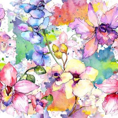Tapeta Wildflower orchid kwiatowy wzór w stylu akwarela. Pełna nazwa rośliny: kolorowa orchidea. Aquarelle dzikiego kwiatu na tle, tekstury, wzór opakowania, ramki lub obramowania.
