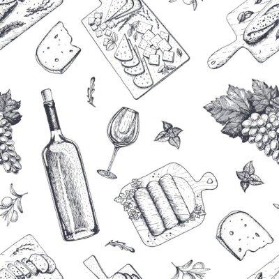Tapeta Wina i przekąski dla smakoszy wzór. Ser, mięso, chleb, ręcznie rysowane winogron. Wzór dla smakoszy.