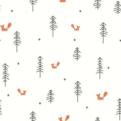 Tapeta Winter Forest Seamless Pattern