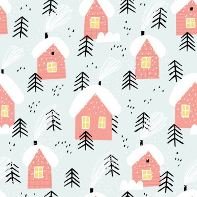 Tapeta Winter village landscape. Cute red houses in a snowy forest.