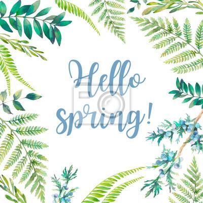 Tapeta Witaj wiosno! Akwarela kwiatów ramki. Ręcznie rysowane projekt karty rośliny: Elementy botanicznych na białym tle. Gałęzie, Paproć, jagody i pozostawia obramowanie