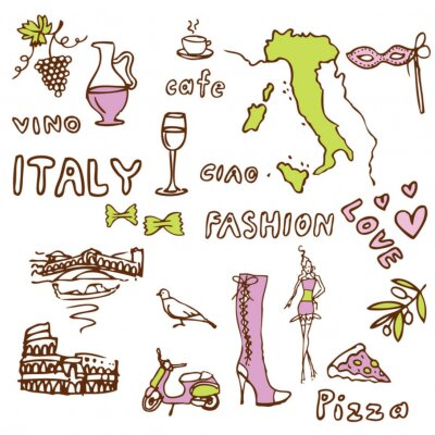 Tapeta Włochy celowniki symbole doodle