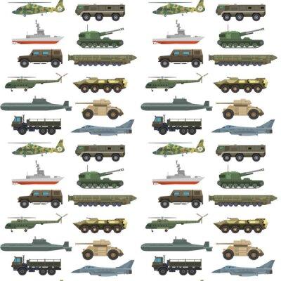 Tapeta Wojskowych przewiezionego wektorowego pojazdu techniki wojska zbiorników i przemysł zbroi defence transportu broni tła bezszwowa deseniowa ilustracja.