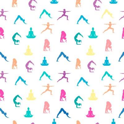 Tapeta Women in yoga pose seamless pattern background
