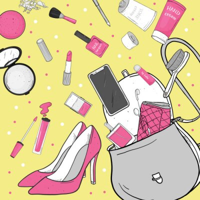 Tapeta Women's handbag with cosmetics, shoes and smartphone. Personal effects fell out of the bag. Vector illustration in sketch style. For fashion publications, beauty and mobile applications.