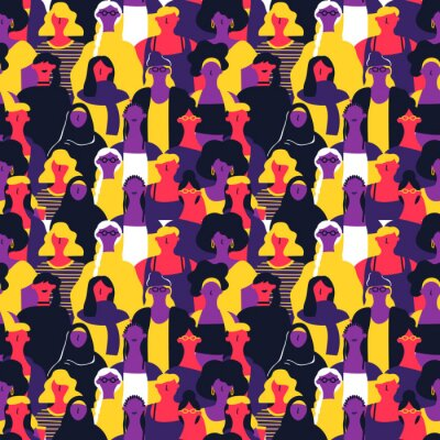 Tapeta Womens Day seamless pattern of diverse woman faces