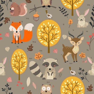 Tapeta Woodland animal seamless background illustration