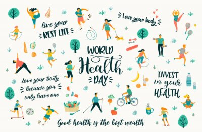 Tapeta World Health Day. Vector illustration with people leading an active healthy lifestyle and quotes.