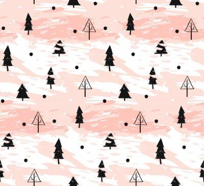 Tapeta Wręcza patroszoną wektorową abstrakcjonistyczną Bożenarodzeniową dekorację textured bezszwowego deseniowego projekt z freehand brudnym muśnięciem malował choinki w pastelowych kolorach odizolowywający
