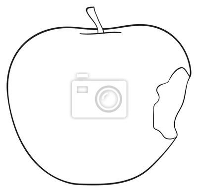 Tapeta Wspaniały ogród - Bitten jabłko z łodygą