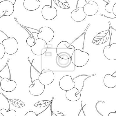Wspaniały ogród - Jednolite wzór z dużą ilością wiśni 3
