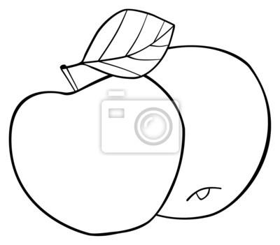 Tapeta Wspaniały ogród - Zestaw dwóch okrągłych jabłek z liściem