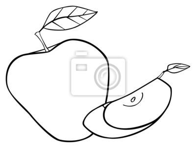 Wspaniały ogród - Zestaw jabłko z dwoma liśćmi i plasterkiem