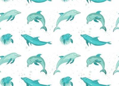 Tapeta Wyciągnąć rękę wektor czas letni kreskówki bezszwowe wzór z skoków delfinów w kolorach niebieskim na białym tle.