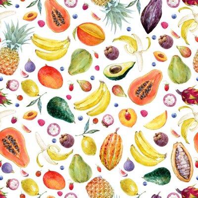 Tapeta Wzór akwarela egzotycznych owoców