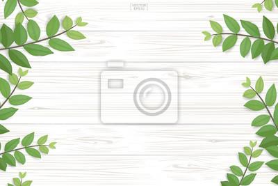 Tapeta Wzór deski z drewna i tekstury z zielonych liści na naturalne tło. Streszczenie tło do prezentacji produktu. Realistyczny wektor.