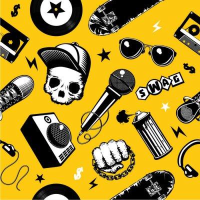 Tapeta Wzór hip-hop z sprzętem muzycznym. Tło kultury ulicznej.