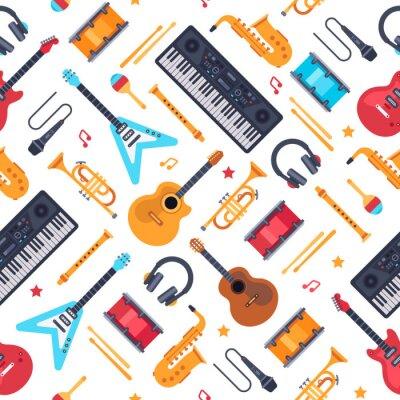 Tapeta Wzór instrumentów muzycznych. Vintage syntezator fortepianowy, gitara rockowa i perkusja. Płaskie tło wektor muzyka