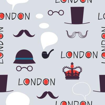Tapeta Wzór Londyn z kapeluszami i wąsami