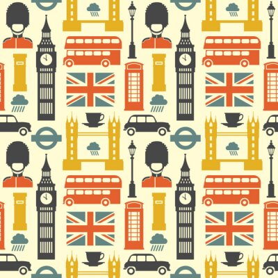 Tapeta Wzór Londynu. Wektor kolorowy wzór z symboli Londynu, takich jak Big Ben, czerwony autobus, taksówkę i flagi brytyjskiej w modnym stylu płaski. Pojedynczo na białym.