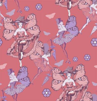 Tapeta Wzór motyli dziewcząt