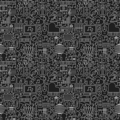 Tapeta Wzór muzyczny ciemny linii