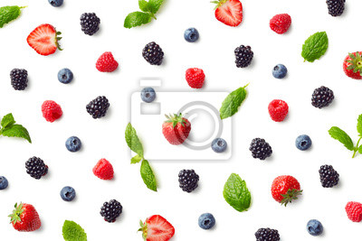 Tapeta Wzór owoców kolorowych jagód i liści mięty
