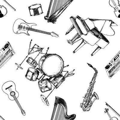 Tapeta Wzór ręcznie rysowane szkic stylu instrumentów muzycznych. Ilustracja wektorowa na białym tle.