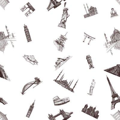 Tapeta Wzór ręcznie rysowane szkic stylu słynnych zabytków i zabytków na białym tle. Ilustracji wektorowych.