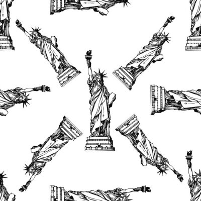 Tapeta Wzór ręcznie rysowane szkic stylu Statua wolności. Ilustracja wektorowa na białym tle.