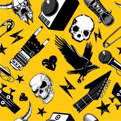 Tapeta Wzór rock and rolla. Tło muzyczne. Elementy muzyczne i dźwiękowe.