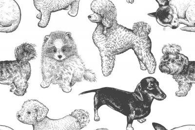 Tapeta Wzór. Śliczne małe szczeniaczki. Ręcznie wykonany rysunek psów.