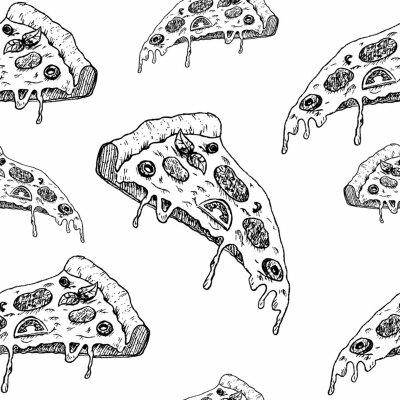 Tapeta wzór szkic pizzy, wektor wzór, ręcznie rysowane szkic kawałek pizzy na białym tle, wektor