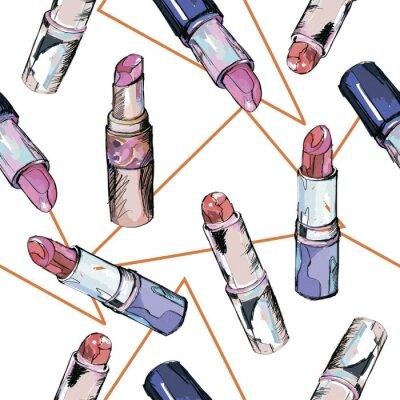 Tapeta Wzór szminki. Ilustracja moda.
