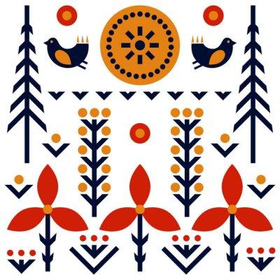 Tapeta Wzór sztuki ludowej w stylu skandynawskim, nordyckim
