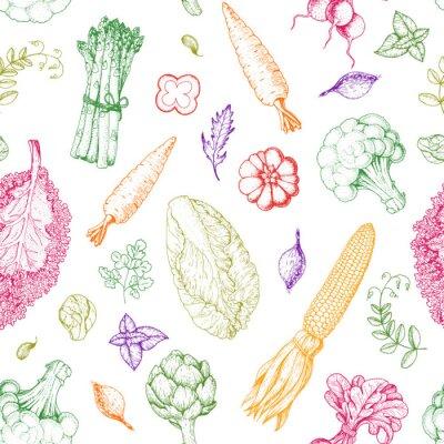 Tapeta Wzór warzywa. Szablon projektu menu rynku rolników. Wzór opakowania żywności ekologicznej warzyw. Ręka starodawny szkic ilustracji wektorowych. Grafika liniowa. Grawerowany styl.