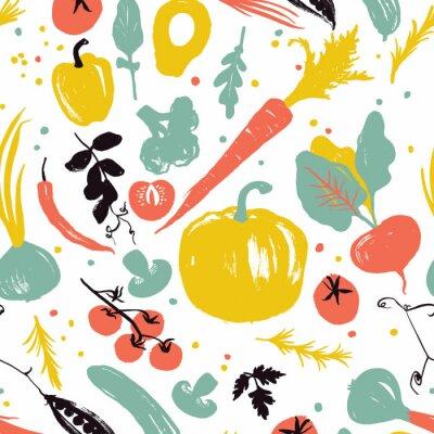 Tapeta Wzór warzywny z dynią, marchewką, cebulą, pomidorami i pieprzem. Zdrowy styl życia. Rynku rolników
