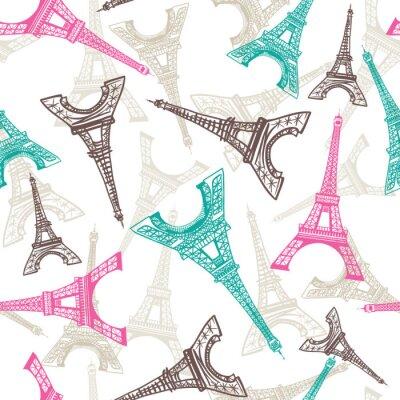 Tapeta Wzór wieży Eiffla. Francuski wektorowy tło. Tekstura tkanina Vintage w pastelowych kolorach