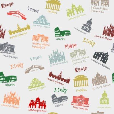 Tapeta Wzór Włochy. Budynek, punkty orientacyjne. Ikony podróży sylwetki