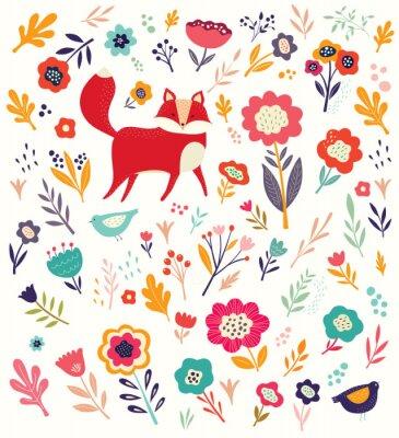 Tapeta Wzór z cute lisa z kwiatu tła