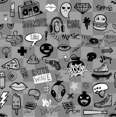 Tapeta Wzór z doodles Hipster nastolatki