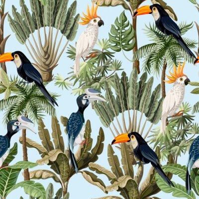 Tapeta Wzór z egzotycznych drzew i dzikiego ptactwa, papugi i tukany. Tapeta w stylu vintage wnętrza.